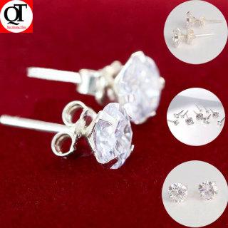Bông tai bạc nữ trang sức Bạc Quang Thản, khuyên tai nụ đá chốt đeo sát tai gắn đá kim cương nhân tạo sáng chất liệu bạc thật không xi mạ, phong cách đơn giản, thích hợp đeo thời trang, làm quà tặng QTBT33 thumbnail