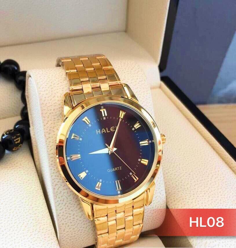 Nơi bán đồng hồ nam halei dây vàng mặt đen HL08 (có video sản phẩm )