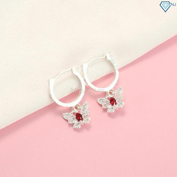 Bông tai nữ trẻ em, hoa tai bạc nữ dài cánh bướm hồ điệp đính đá đẹp gia rẻ BTN0086 -TRANG SỨC TNJ