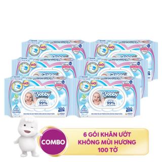 COMBO 6 KHĂN GIẤY ƯỚT BOBBY KHÔNG MÙI 100 MIẾNG thumbnail