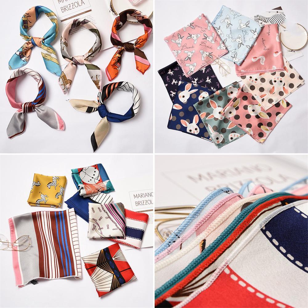 Giá bán 1* Summer Elegant Small Vintage Women Silk Feel Satin Head Neck Square Scarf Hair Tie Band