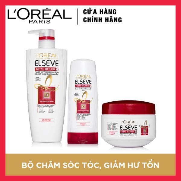 Bộ sản phẩm chăm sóc tóc chống 5 dấu hiệu hư tổn 3 bước LOreal Paris Total Repair 5 giá rẻ