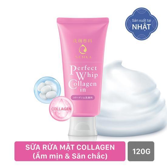 Sữa rửa mặt tạo bọt collagen giúp da săn chắc và căng mịn Senka Perfect Whip Collagen In 120g tốt nhất