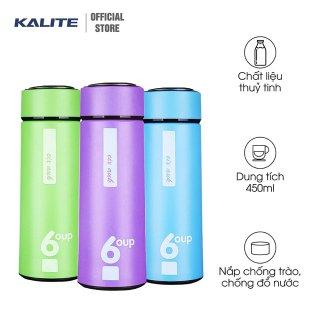 Bình đựng nước giữ nhiệt, ruột bình thủy tinh bọc nhựa giúp hạn chế thoát nhiệt, dung tích 450ml thumbnail