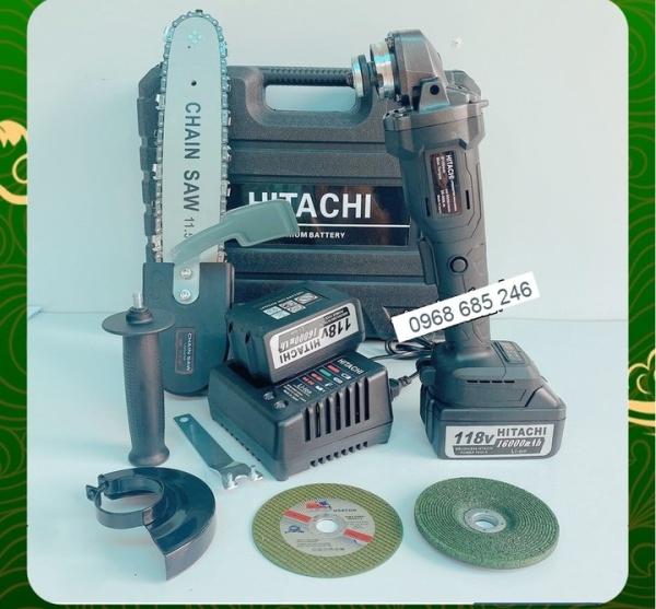 Máy mài cầm tay pin Hitachi 118V không chổi than - 20000mAh - 2 PIN - TẶNG LƯỠI CƯA XÍCH CẮT GỖ, ĐÁ MÀI, ĐÁ CẮT