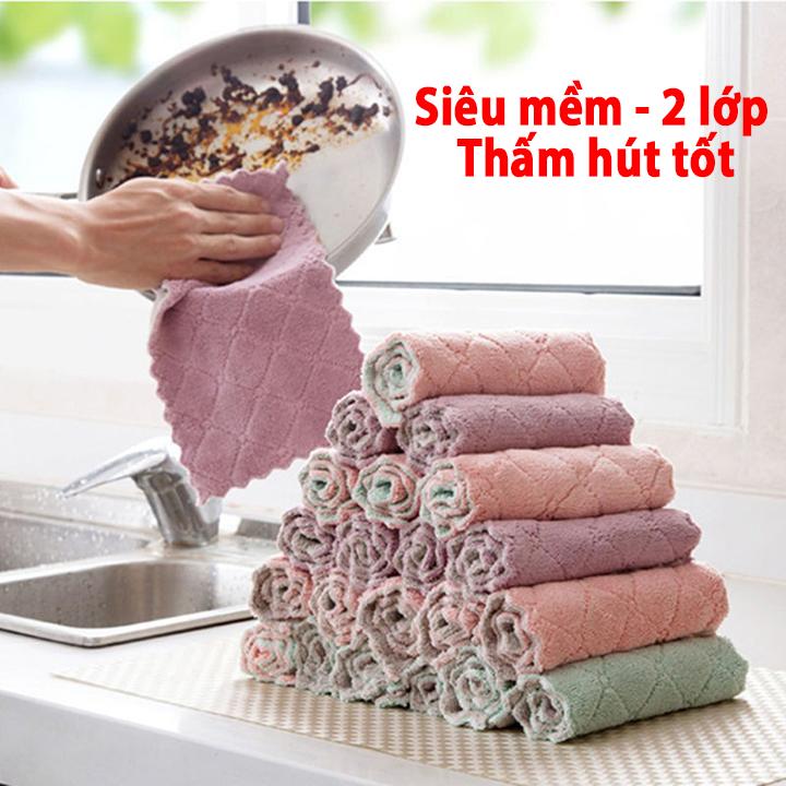 Set 5 khăn lau đa năng nhà bếp 2 mặt siêu thấm hút, dùng lau cho bát, đũa, bàn ghế, xoong nồi, cốc chén giá siêu rẻ giá chỉ từ 1K - Kích thước 15x25cm