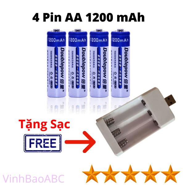 Bảng giá Combo 4 Viên Pin Sạc DoublePow 2A 1200 mah Và 1 Sạc 3 Pin Đầu USB