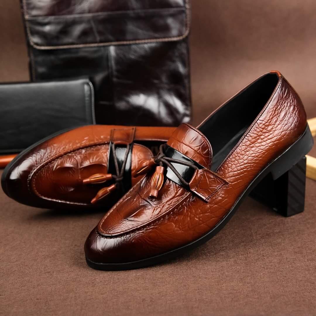 Giày Nam Chuông Da Bò Giày tây nam gắn nơ chuông mặt da vân cá sấu Giày lười nam Giày mọi nam da bò cao cấp đẹp thời trang hàng hiệu giá rẻ D-5 màu nâu