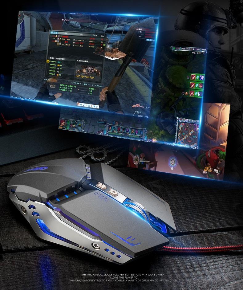 Chuột Gaming OXE X800 LED 3200dpi Cao Cấp 7D có phần mềm lập trình Led, dpi đi kèm ( Xám )