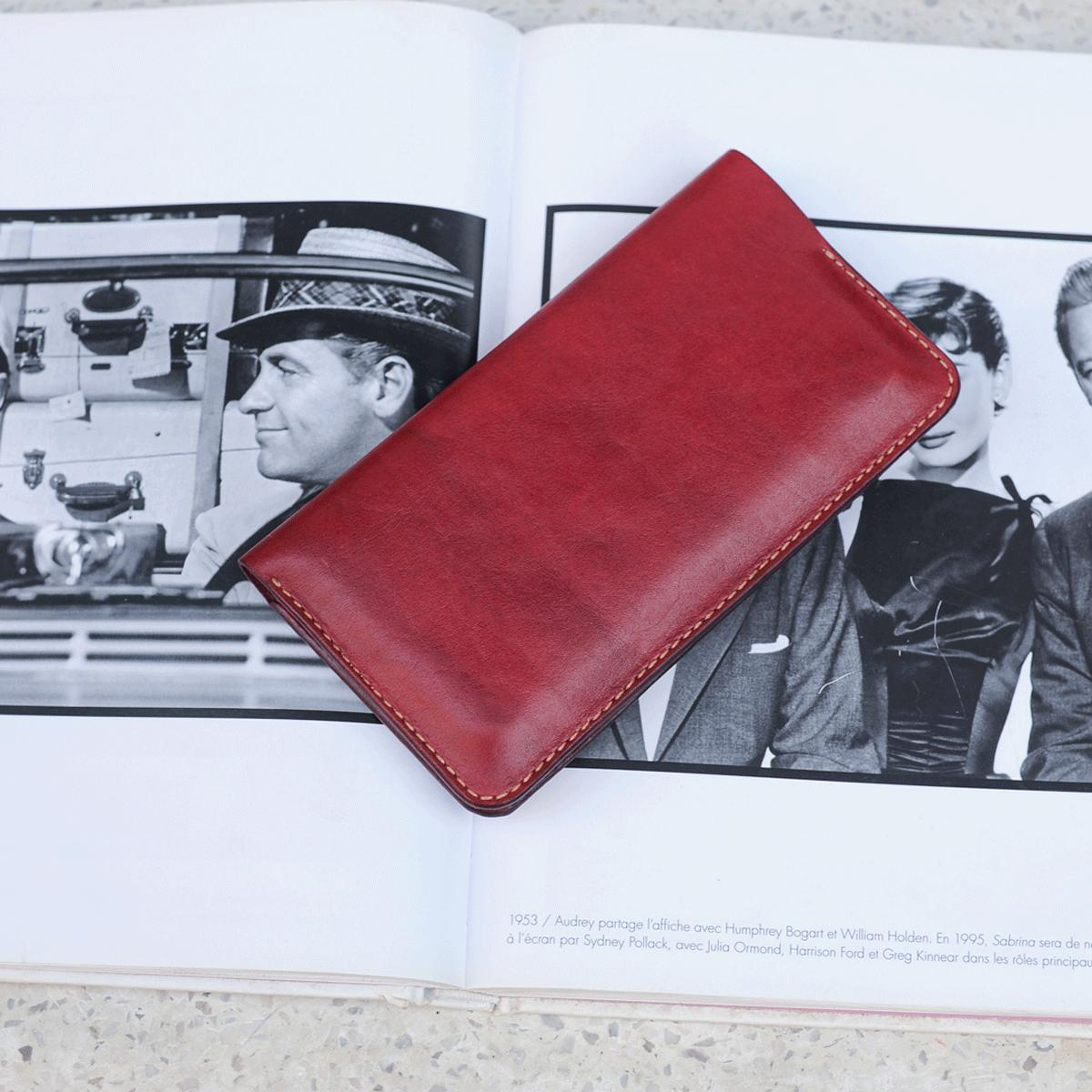 Ví dài cầm tay - Ví cầm tay da bò - Ví dài nữ - Ví dài cầm tay nữ màu đỏ đô handmade - Ví dài cầm tay nữ Mino Crafts VI219