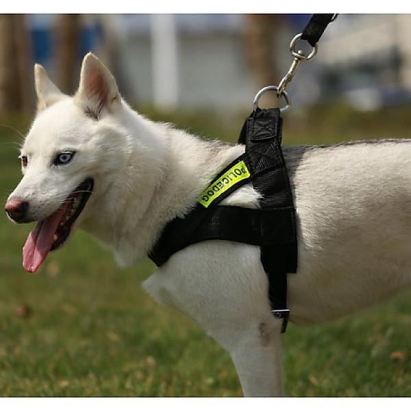 Dây dắt chó police phản quang (3 size) dây dắt kèm yếm đai yên ngựa cho chó cảnh sát nghiệp vụ