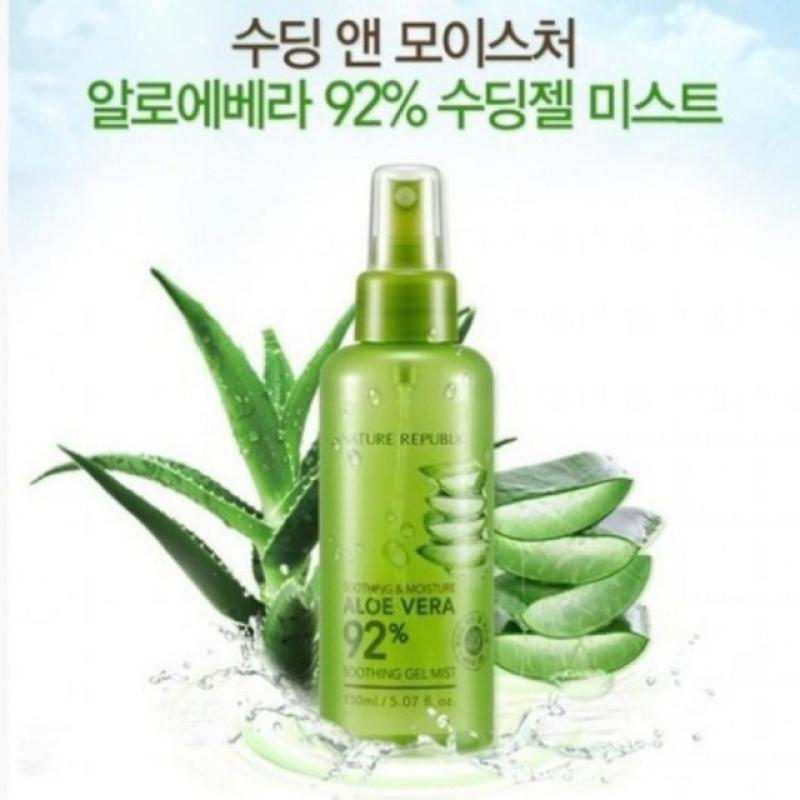 ( RẺ VÔ ĐỊCH) Xịt khoáng dưỡng ẩm nha đam lô hội Nature Republic Soothing & Moisture Aloe Vera 92% Gel Mist