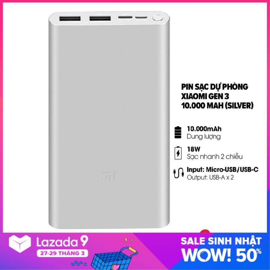 Sạc dự phòng Xiaomi 10000mAh Gen 3 Bản Sạc Nhanh 2019 – Xiaomi Mi 18W Fast Charge Power Bank chính hãng