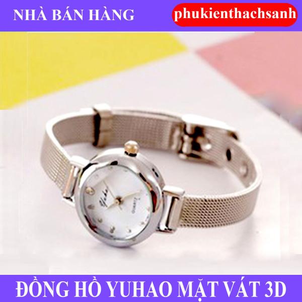 Đồng hồ nữ YUHAO mặt vát 3D dây thép lụa xinh xắn(bạc)-VS