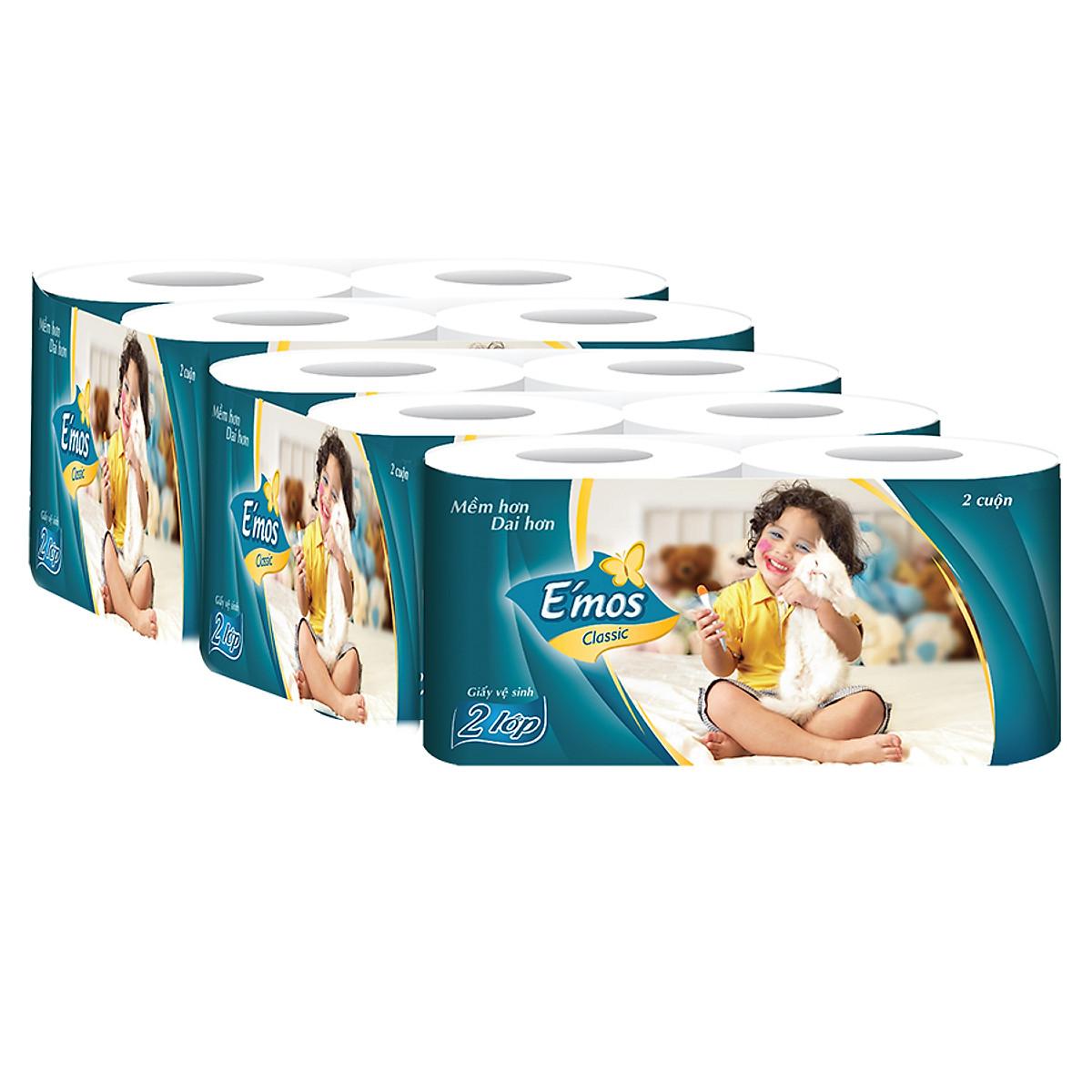 1 lốc 10 cuộn giấy vệ sinh E'mos màu xanh,cực rẻ ,mịn,đẹp