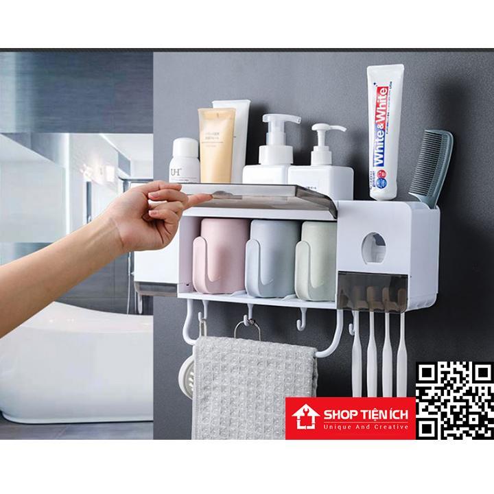 Kệ để đồ nhà tắm tích hợp dụng cụ nhà kem tặng kèm 3 cốc LOẠI TO Nhật Bản