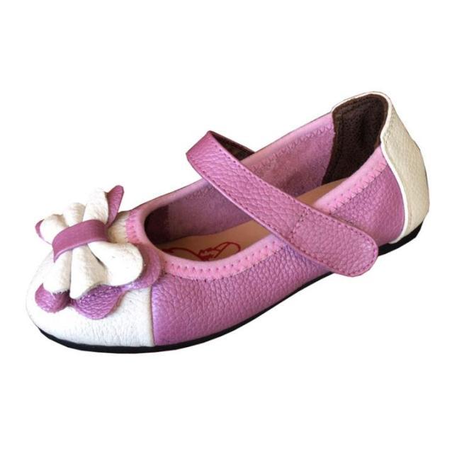 Giày búp bê bé gái trắng vá tím da bò cao cấp Trường Hải BB095 giá rẻ