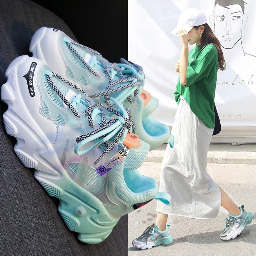 Giày thể thao nữ độn đế 2 màu dây kép bản đặc biệt 2020 giá rẻ