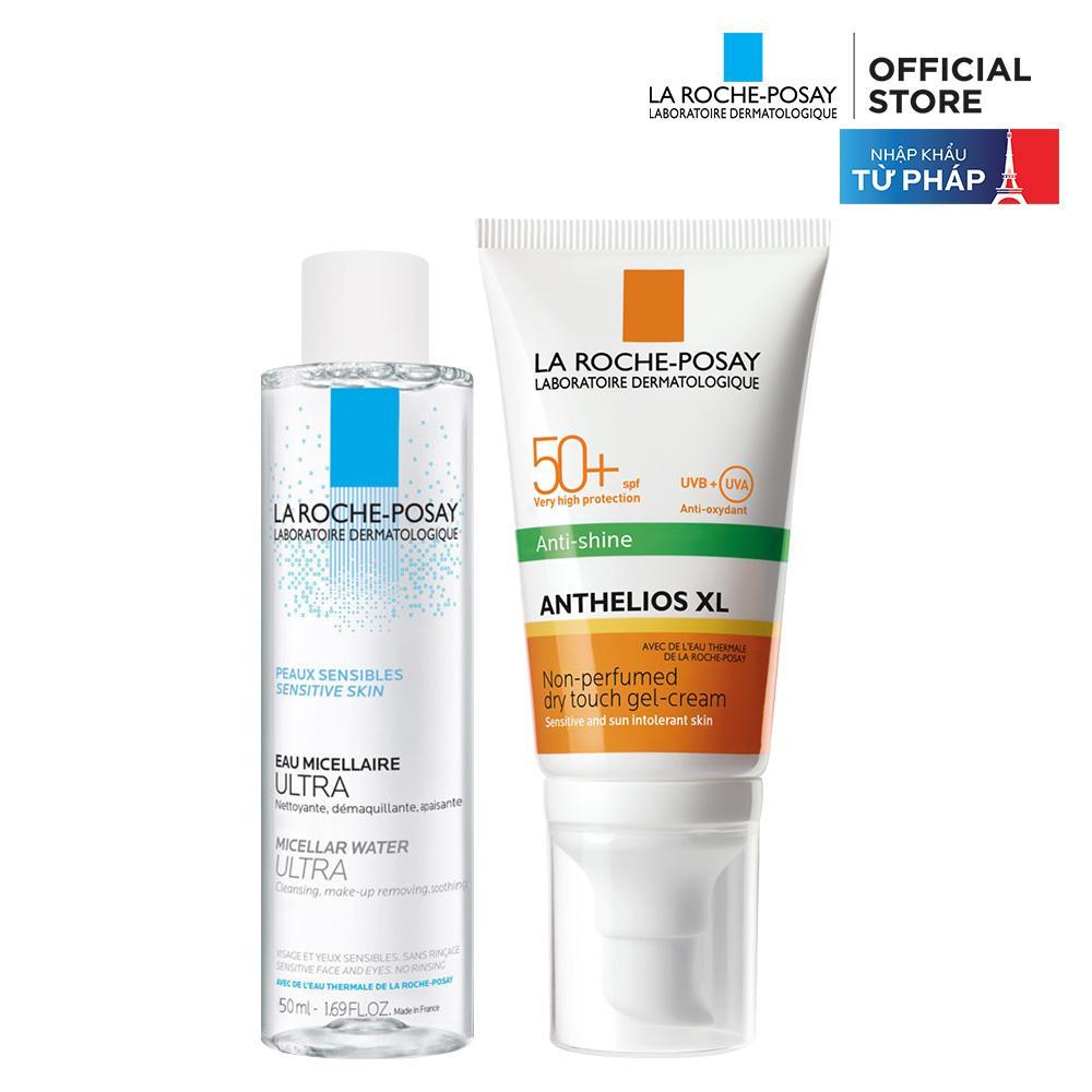 Bộ chống nắng kiểm soát dầu La Roche-Posay Anthelios XL Dry Touch 50ml & Nước tẩy trang 50ml nhập khẩu