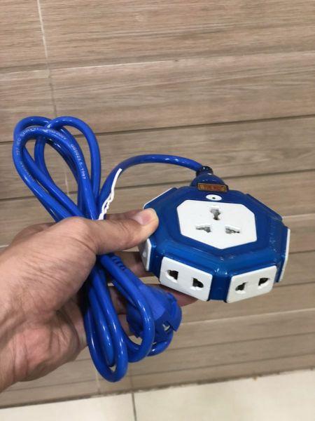 Bảng giá Ổ cắm điện lục giác nối dây 2m, Ổ cắm điện 7 ổ cắm đa năng, Ổ cắm điện