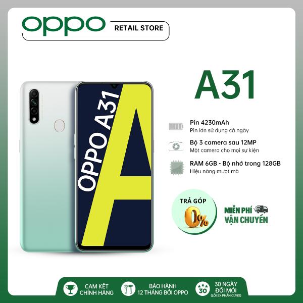 TRẢ GÓP 0% Điện thoại Oppo A31 (6GB/128GB) - Màn hình 6.5  3 Camera sau12MP Camera trước 8MP MediaTek Helio P35 Pin 4230mAh - Hàng chính hãng