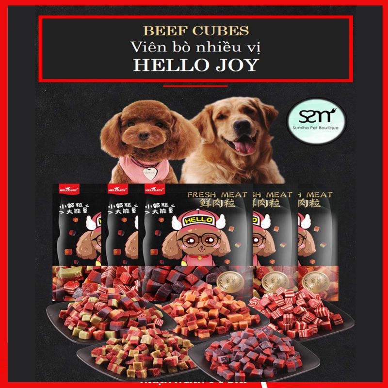 Viên thịt bò cho chó Hello Joy (4 hương vị) (500gr/túi) Bánh thưởng cho chó mèo thú cưng