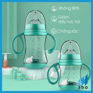 NEW Bình sữa cho em bé chống sặc đầy bụng HUPA cổ rộng ty loại tốt có ống hút tay cầm bú mọi tư thế nhựa núm mềm trẻ sơ sinh thumbnail