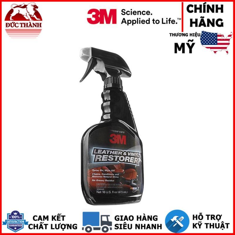 Chai xịt chăm sóc da, nội thất ô tô - 3M Leather & Vinyl Restorer PN39040 473ml (Đen)