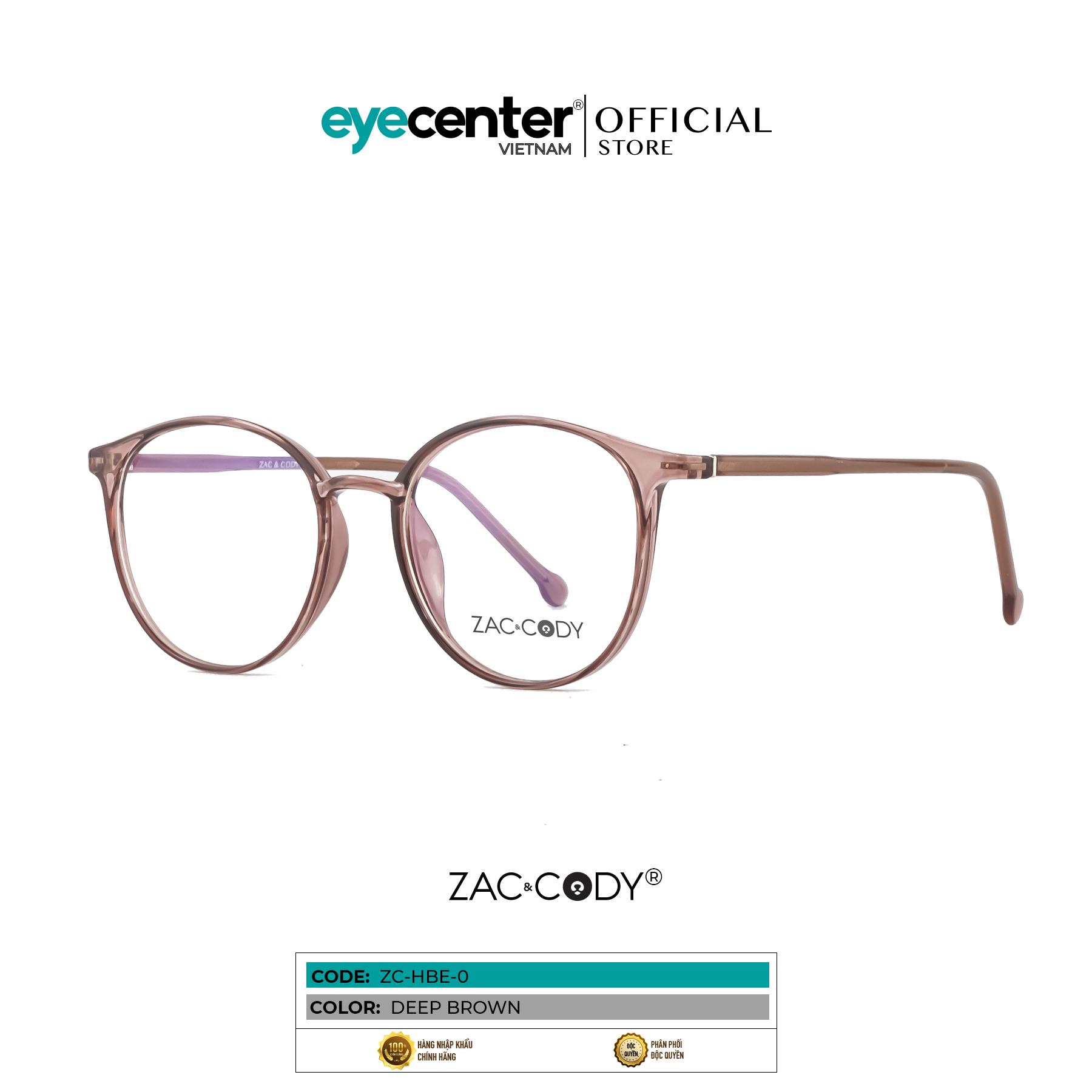 Mua Gọng kính cận unisex nam nữ chính hãng zac & cody mắt tròn nhiều màu lõi thép chống gãy, chân kính chất liệu nhựa dẻo, giúp bám tai tốt và không gây khó chịu khi đeo lâu