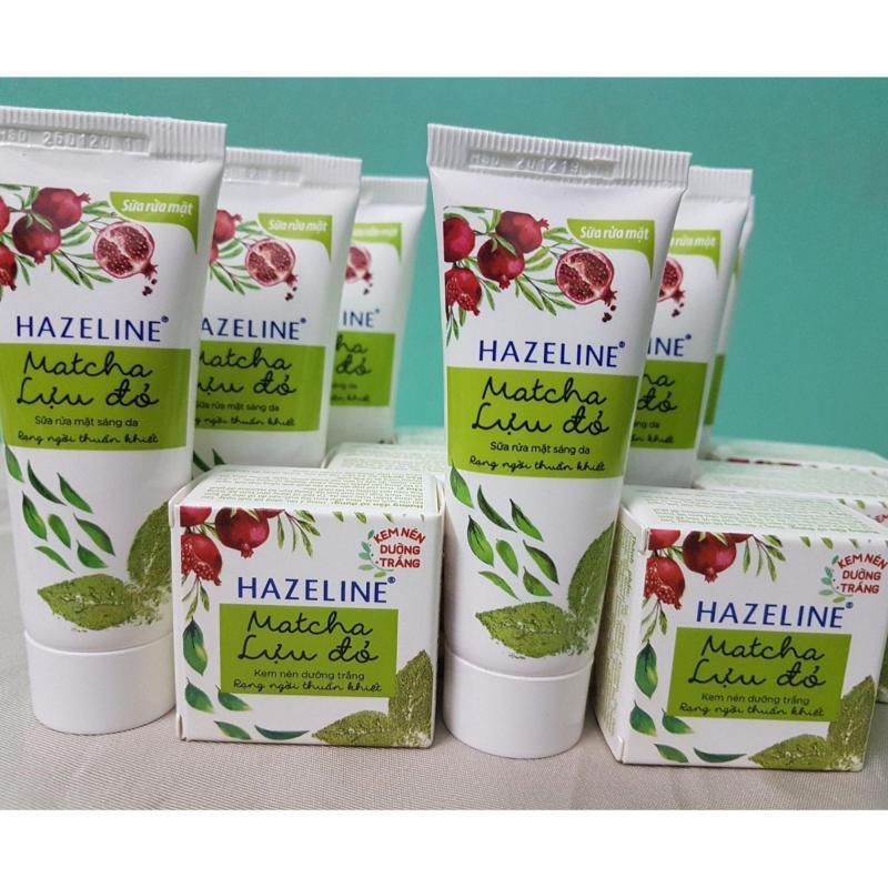 Combo 10 món: 5 hộp kem nén  (3g/hộp), 5 tuýp srm (15g/ tuýp) Ha-ze-line Matcha  + Tặng túi đựng mỹ phẩm xinh xắn nhập khẩu