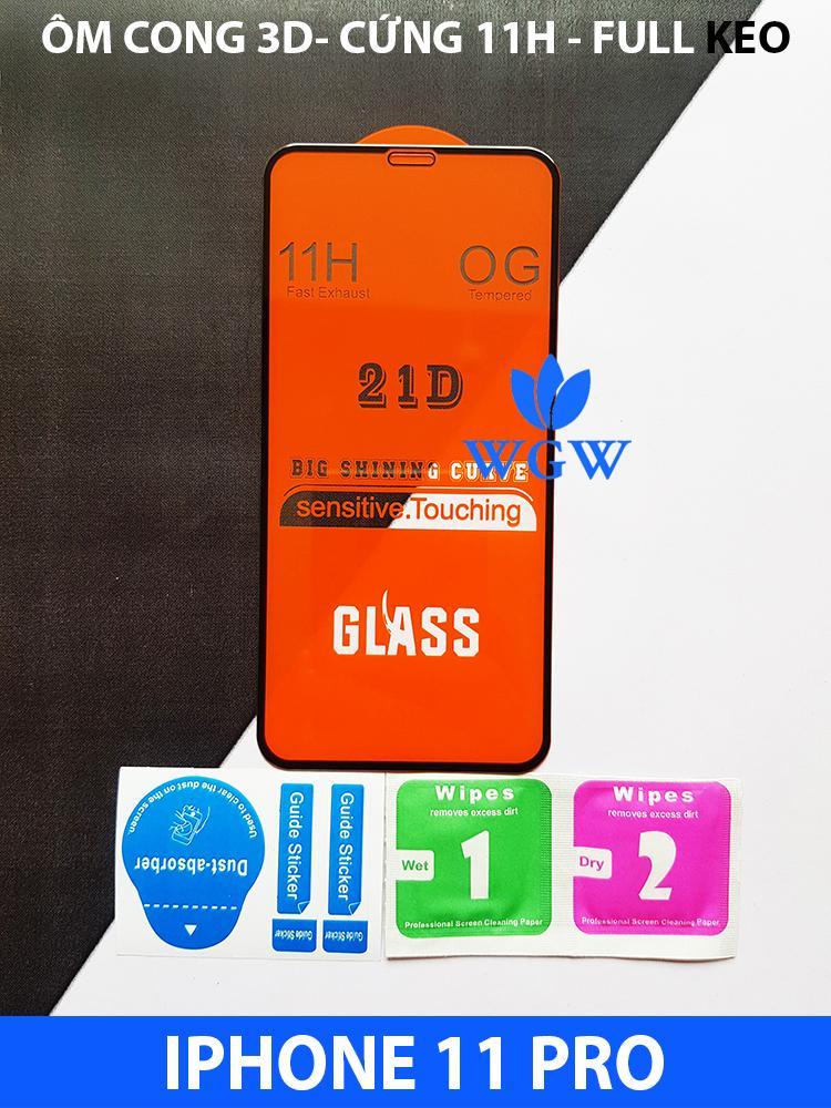 Giá Kính Cường Lực 21D IPHONE 11 PRO FULL KEO, SIÊU BỀN, SIÊU CỨNG, ÔM SÁT MÁY - WGW STORE