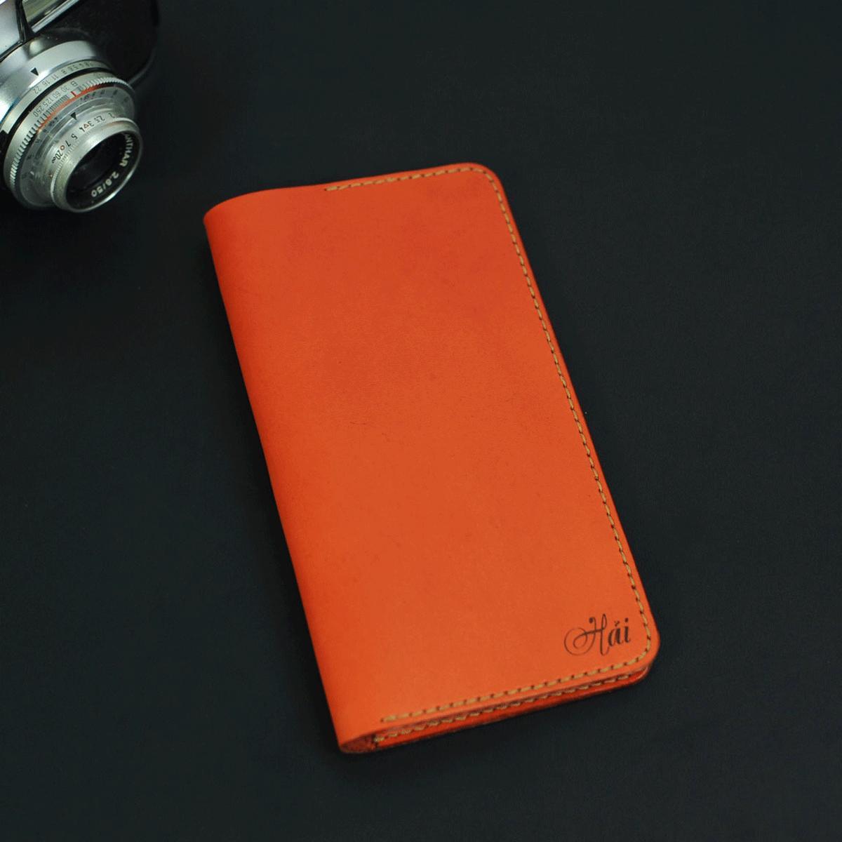 Ví dài cầm tay nữ màu xanh cam handmade - Da bò - Ví dài cầm tay nữ Mino Crafts VI214