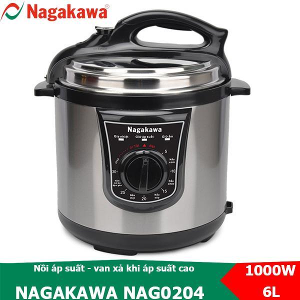 Nồi áp suất đa năng nắp rời 6L Nagakawa NAG0204 van tự xả khi áp suất cao