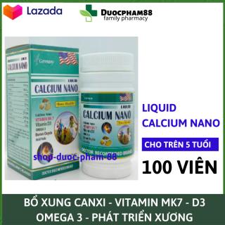 Viên uống Canxi tăng chiều cao, chắc khỏe xương, giảm loãng xương Liquid Calcium Nano - Hộp 100 viên dùng cho trẻ em trên 6 tuổi, người lớn, bà bầu - Chuẩn BYT thumbnail
