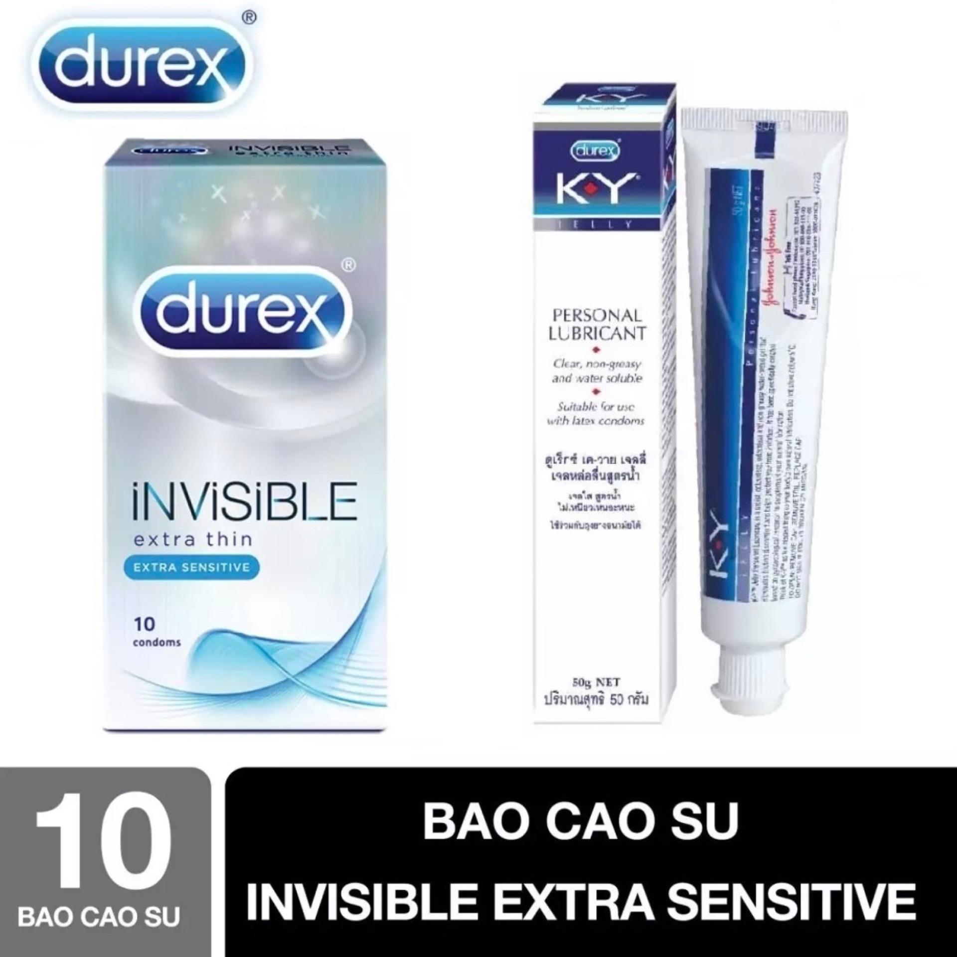 BCS Durex Invisible Extra Thin cực siêu mỏng 10s - tặng Gel bôi trơn Durex KY 50G [che tên sản phẩm] cao cấp