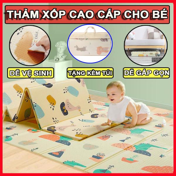 Thảm trải sàn xốp XPE - thảm cho bé 2 mặt phủ Silicone Hàn Quốc mẫu đẹp chống thấm tuyệt đối, chống ngã, cho bé tập bò kèm túi 1m8- 2m (Giao mẫu ngẫu nhiên)