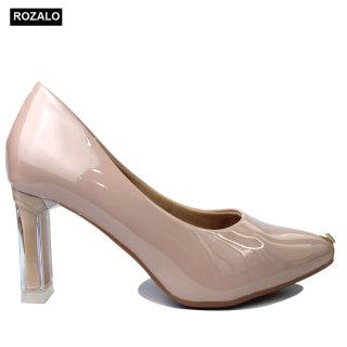 Giày cao gót 7P da bóng mũi kim loại đính đá Rozalo R6607 thumbnail