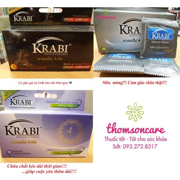 Bao cao su Krabi hộp 12 chiếc - Nhập khẩu chính hãng từ Thái Lan