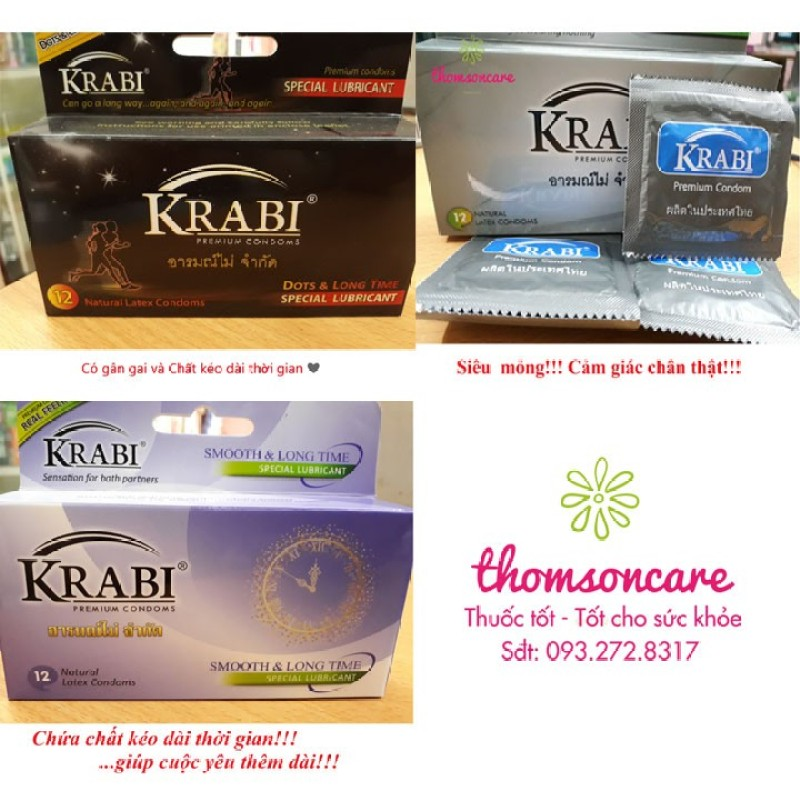 Bao cao su Krabi hộp 12 chiếc - Nhập khẩu từ Thái Lan, bcs gân gai, siêu mỏng, kéo dài thời gian bôi trơn, 49mm đôn dên condom