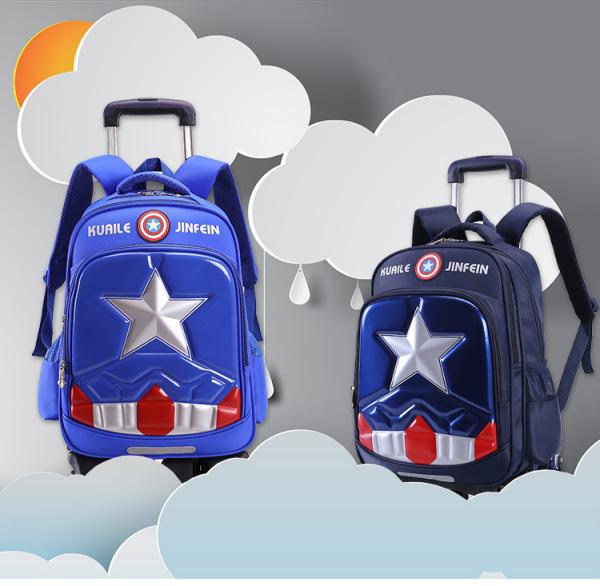 Giá bán Balo kéo học sinh Captain America cần kéo 6 bánh