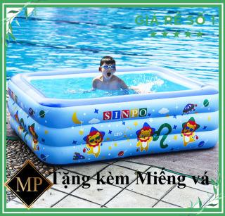 [Bể 1M5 CAM KẾT HÀNG LOẠI SIÊU DÀY] Bể Bơi Phao Cho Bé trong nhà 3 tầng 1m5 hình chữ nhật 150x110x48 họa tiết ngộ nghĩnh bồn tắm hơi cho bé , bồn tắm trẻ em bơm hơi + Tặng kèm keo miếng vá thumbnail
