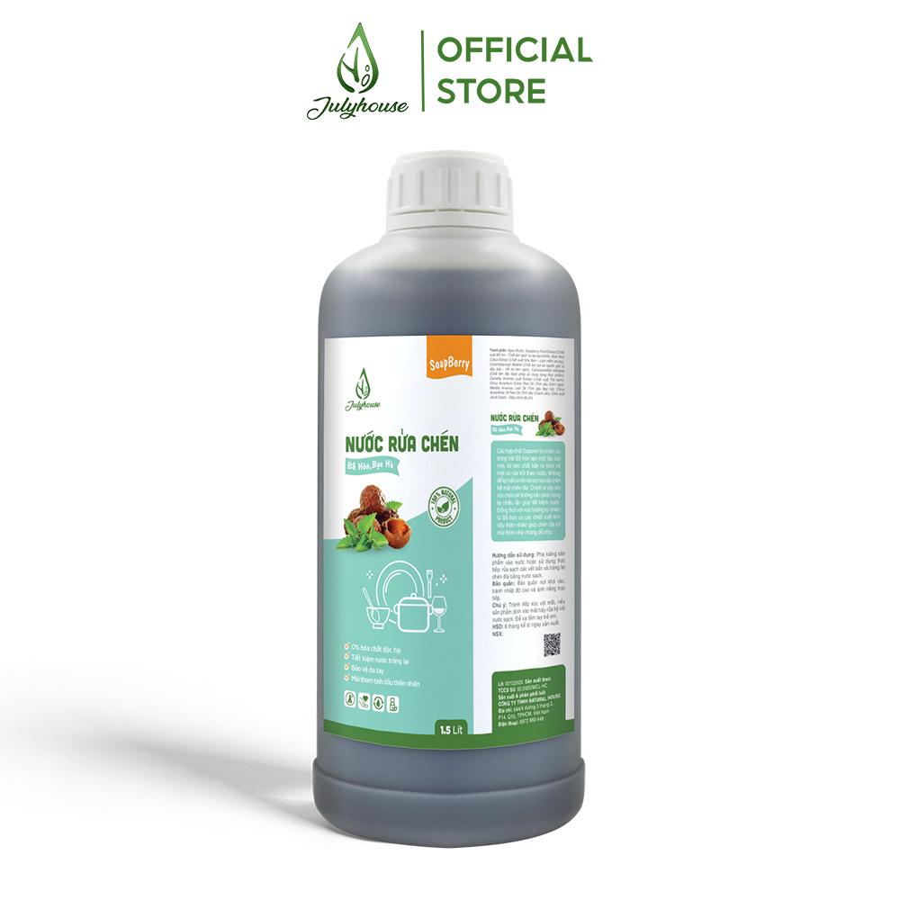 Nước rửa chén tự nhiên chiết xuất từ trái Bồ Hòn và tinh dầu Bạc Hà Nguyên Chất 1500ml JULYHOUSE