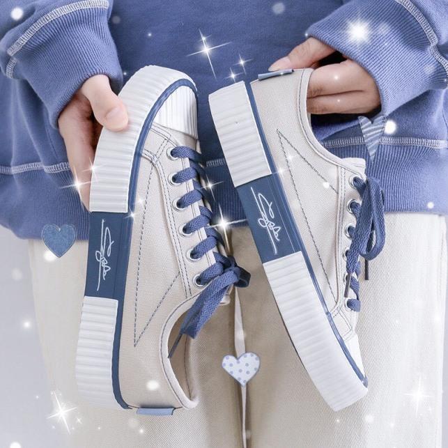 (3 MÀU) giày nữ cổ thấp chữ ký phối vải 3 màu Đen Tím Trắng trẻ trung phù hợp mọi lứa tuổi giá rẻ