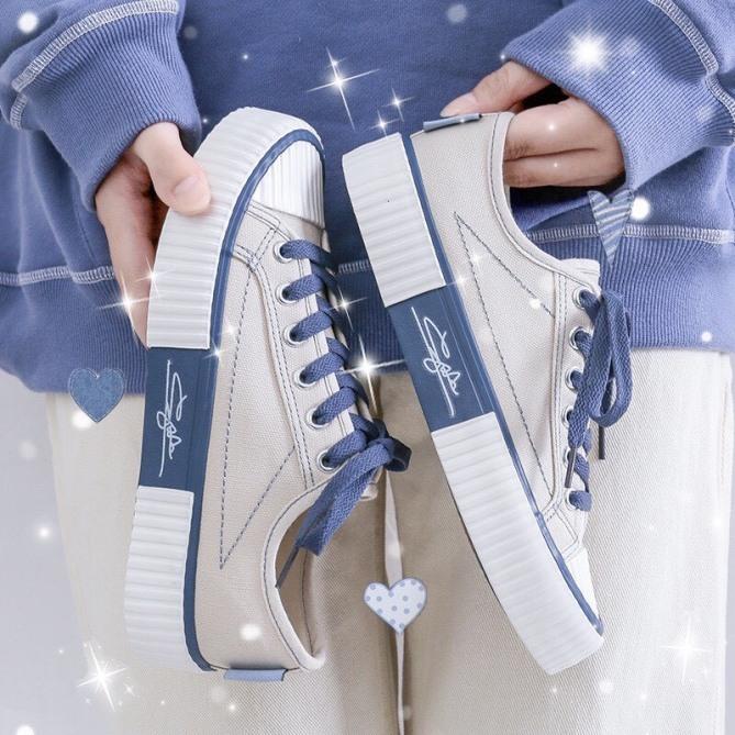(3 MÀU) giày nữ thấp cổ chữ ký đế siêu êm 3 màu phối vải mã C2 cực đẹp trẻ trung giá rẻ