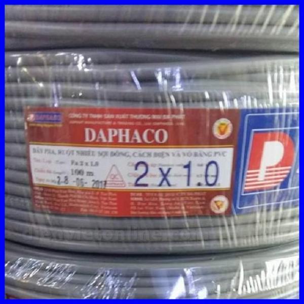 Bảng giá Dây pha mềm 2 lõi ruột đồng vỏ bọc PVC 2x1.0 Daphaco - Điện Việt