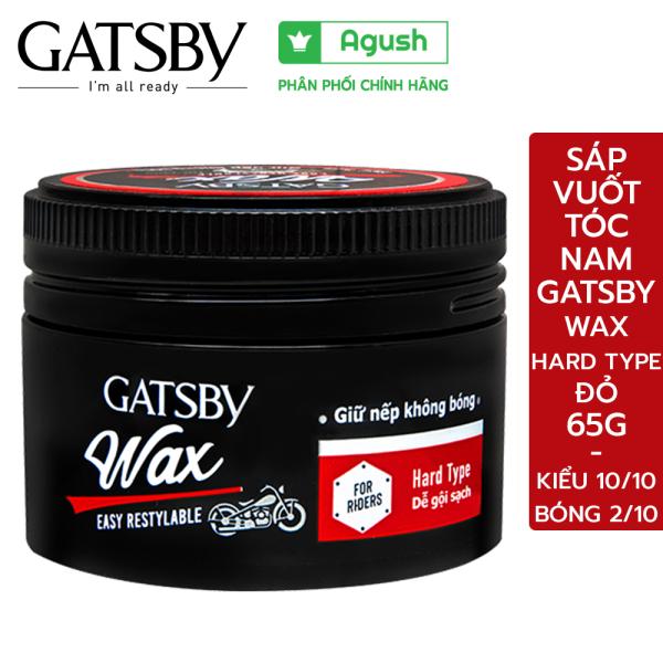 Sáp vuốt tóc nam cao cấp Gatsby Wax Hard Type đỏ 65G giữ nếp tạo kiểu khi đội mũ bảo hiểm không bóng dễ gội sạch - Agush cao cấp