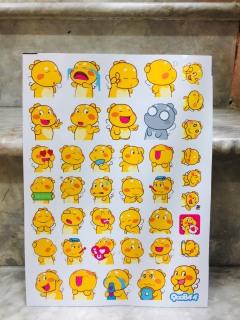 Set 30-100 Sticker khủng long Vàng Qoobee hình dán có ép lụa thumbnail