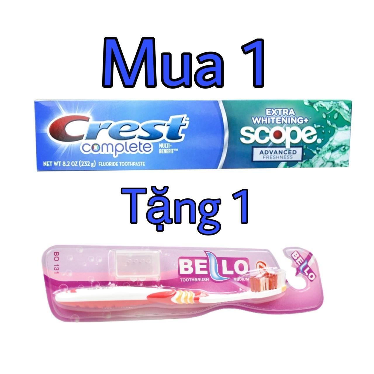 Kem đánh răng  MỸ CREST COMPLETE EXTRA WHITENING SCOPE 232G