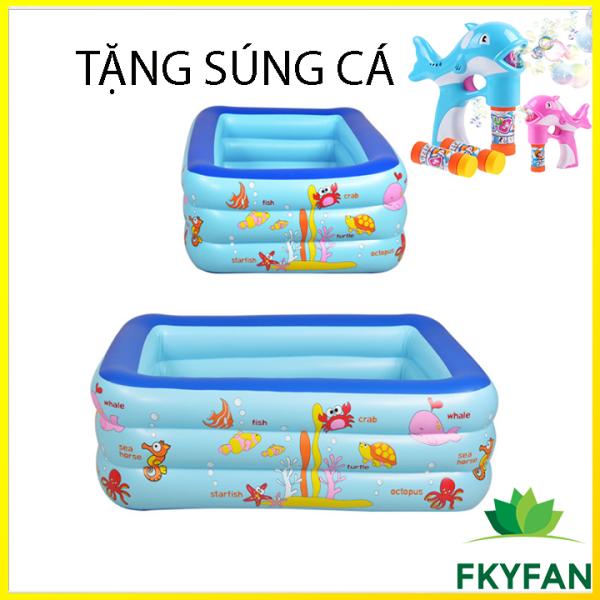[TẶNG SUNG BONG BÓNG + MIẾNG DÁN] Bể bơi cho bé 130 X 90 X 55 cm. bể bơi trẻ em mini gia đình, tam be boi tre em, Bể bơi phao Cỡ lớn cho bé và gia đình - Bể bơi phao 3 Tầng cỡ lớn:loại dày tặng kèm Miếng Vá, hồ tắm cho trẻ em - M3