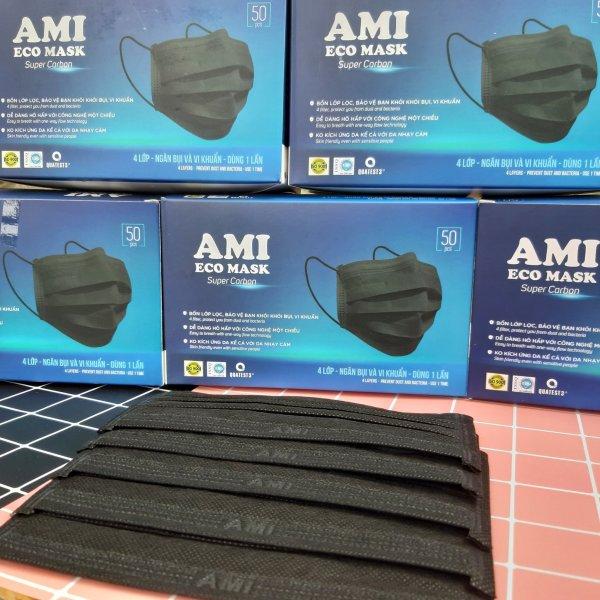 [ĐEN] Hộp 50 cái khẩu trang Y TẾ  AMI 4 lớp / 검은 마스크 / 50 pcs  full box protect masks / FACE MASK